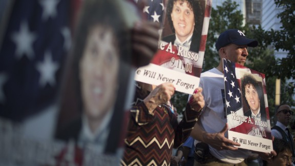 Family and friends of Wayne A. Russo attend ceremonies at the 9/11 Memorial  in New York on September 11. Russo, an accountant for Marsh & McLennan, died while working in his office in the World Trade Center attacks on 9/11.