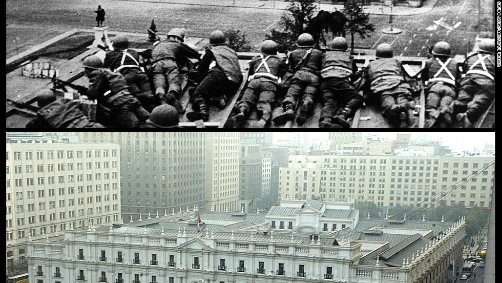 The top of this photo shows the Chilean Army troops firing on the La Moneda Palace in Santiago on September 11, 1973. Below is the same place almost 30 years later.