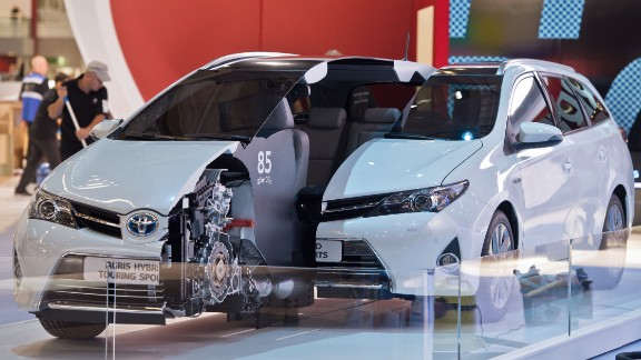 A Toyota Auris Hybrid model is seen at the International Motor Show IAA in Frankfurt Main, Germany, on September 8, 2013.