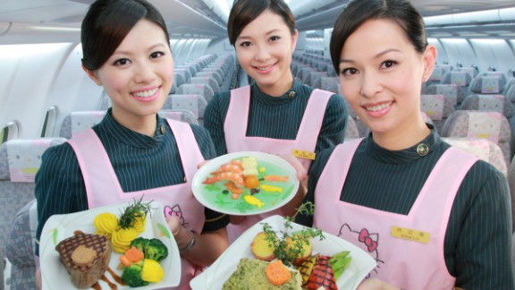 Flight attendants aboard EVA Air's Magic Stars Hello Kitty jet.