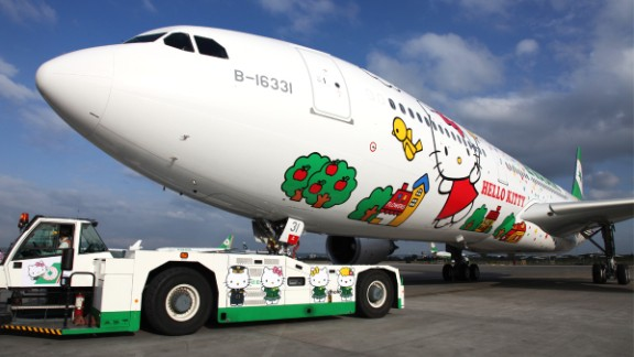 This is EVA Air's Magic Stars Hello Kitty jet, which flies from Taipei to various Asian hubs including Hong Kong and Japan.