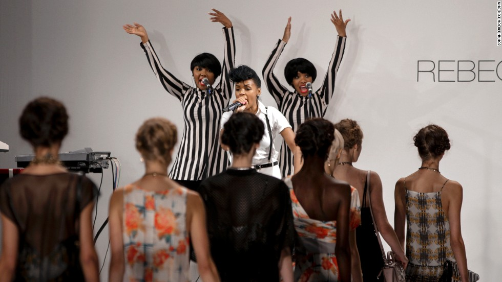 Janelle Monae performs while models display Rebecca Minkoff's spring collection.
