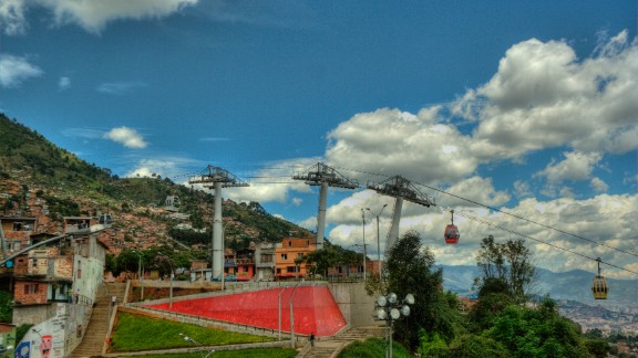 The Medellin Metrocable is widely considered to have increased mobility for some if its poorest citizens and was cited as a major reason behind the awarding of the 'Most Innovative City' title from the Urban Land Institute in early 2013. (Picture courtesy of Daniel Chou)