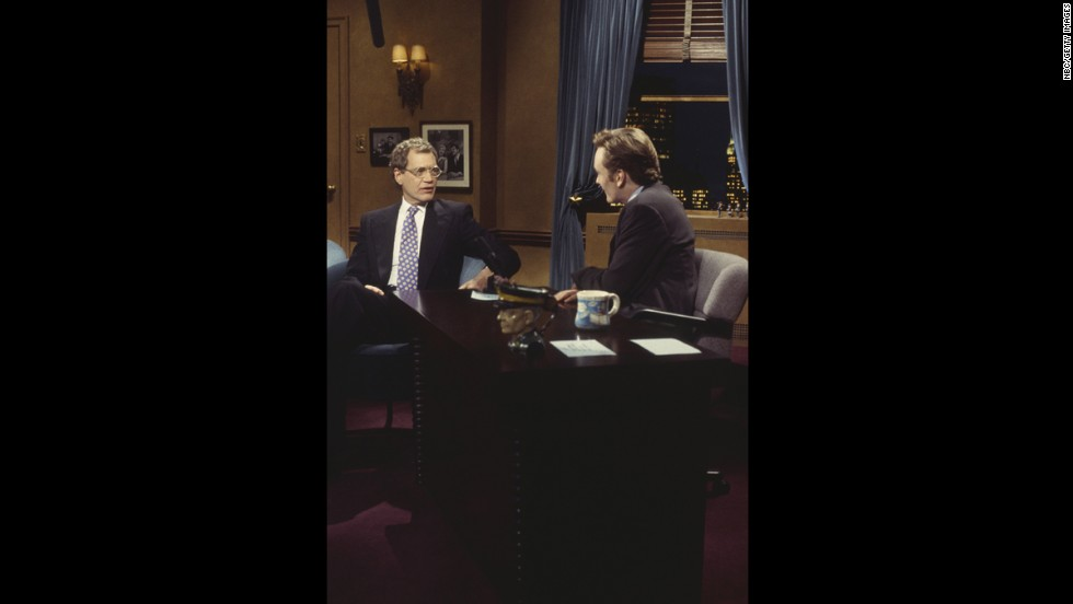 "David Letterman made his first return appearance to NBC on ""Late Night"" in March 1994, and it's easily one of the first highlights of the show. Having both men in the same space was a classic <a href=""http://www.youtube.com/watch?v=TlHYMjckEmM&feature=player_embedded"" target=""_blank"">that should be watched repeatedly</a>."