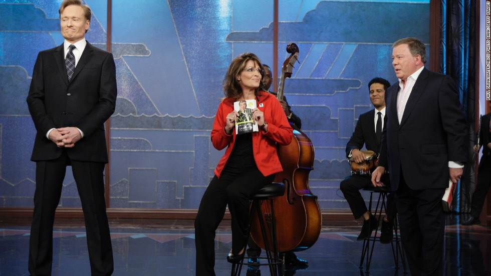 "In December 2009, Sarah Palin made a surprise visit to ""The Tonight Show"" and returned a favor to William Shatner. Since Conan had the actor read dramatically from Palin's book ""Going Rogue"" during a sketch, Palin showed up to read from Shatner's autobiography ""Up Till Now."""
