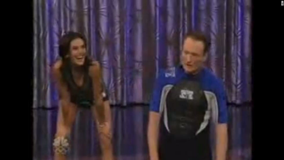 "Conan's challenge to Teri Hatcher ended in a way the host least expected. After challenging the actress to a race around Universal Studios, Conan fell and bumped his head, giving himself a concussion. <a href=""http://www.usmagazine.com/entertainment/news/conan-obrien-injured-after-tonight-show-stunt-2009269"" target=""_blank"">They had to cancel that show and air a re-run instead. </a>"