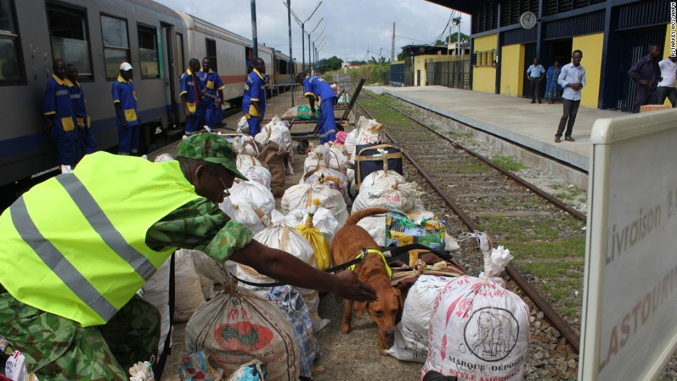 ... as well as passengers' bags at Libreville's train station.