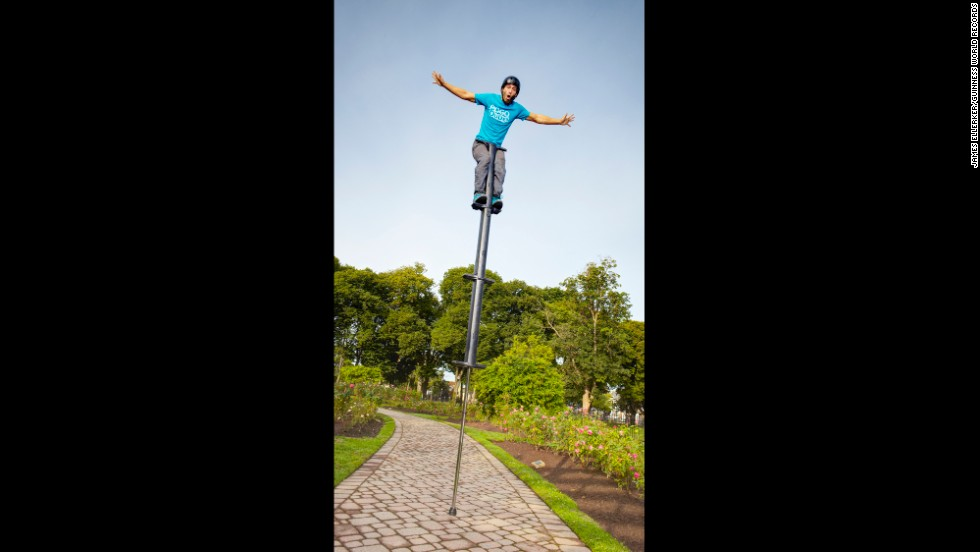 The tallest useable pogo stick is 9 feet, 6.5 inches (2.91 meters) achieved by Fred Grzybowski, from the U.S., at the Toronto International Busker Festival on August 7, 2011.