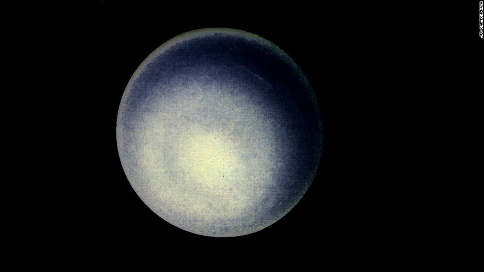 A computer enhancement of a Voyager 2 image emphasizes the high-level haze in Uranus' upper atmosphere. Clouds are obscured by the overlying atmosphere.