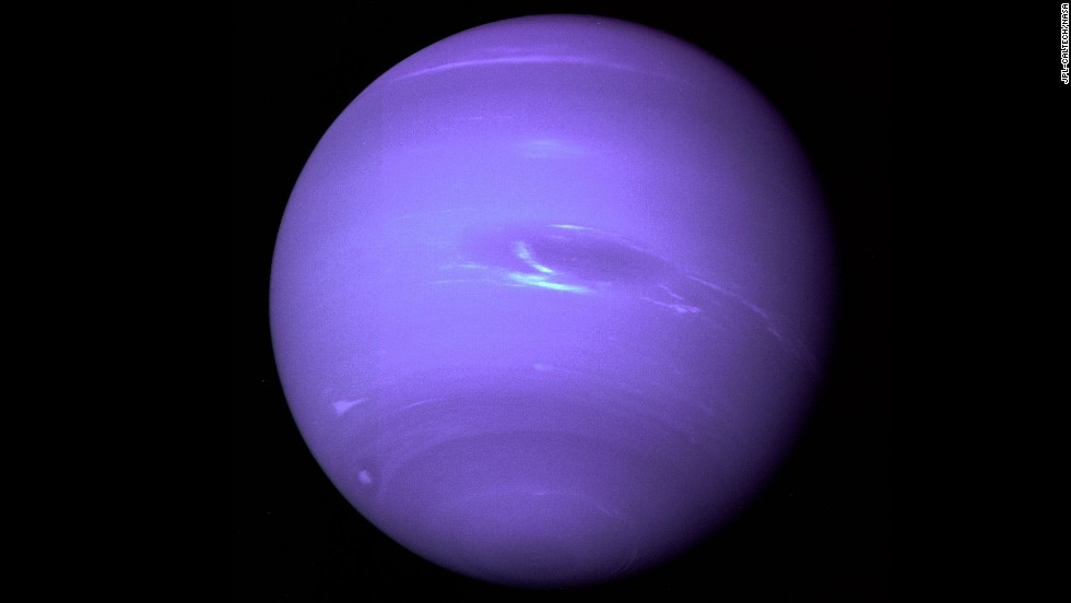 This picture of Neptune shows the Great Dark Spot and its companion bright smudge.