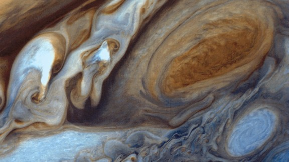 This image of Jupiter  was assembled from three black and white negatives from different color filters and recombined to produce the color image.