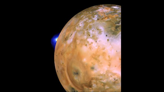 Another image of Io shows an active plume of a volcano dubbed Loki.