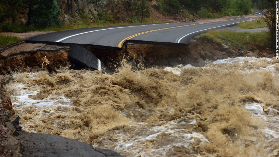 Highway 7 is completely blown out from the South St. Vrain River as a torrent of raging water rips through it about 12 miles west of Lyons on Thursday, September 12.