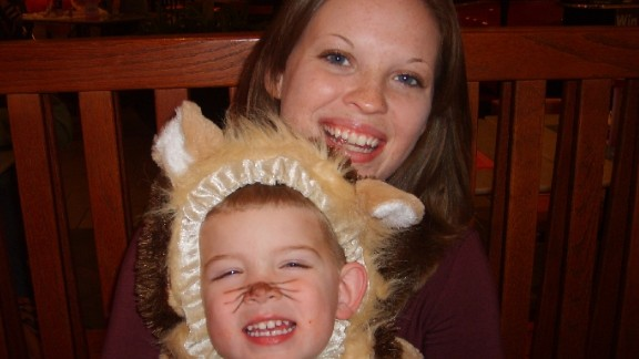 """Trick-or-treating is always one of those events that makes me happy to only have one child to keep track of and keep safe,"" said Crookston, shown here with her son in October 2007."