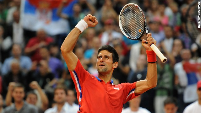 In front of his adoring public in Belgrade, Novak Djokovic gave Serbia a 1-0 lead against Canada in the Davis Cup semifnals.