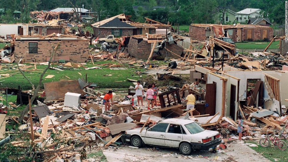 Hurricane Andrew blasted its way across south Florida on August 24, 1992, as a Category 4 with peak gusts measured at 164 mph. After raking entire neighborhoods in and around Homestead, Florida, Andrew moved across the Gulf to hit Louisiana as a Category 3 hurricane. Andrew is responsible for 23 deaths in the United States and three in the Bahamas. Estimated U.S. damage: $26.5 billion.