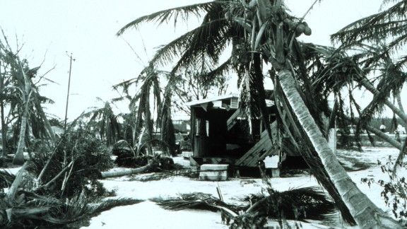 Donna is the only hurricane of record to produce hurricane-force winds in Florida, the Mid-Atlantic states and New England. It crossed Florida on September 11, 1960, as seen in this photo taken in Islamorada Key. Then the hurricane blew into eastern North Carolina as a Category 3 on the 12th, and New England as a Category 3. Donna is blamed for 50 deaths in the United States and hundreds more in the Caribbean. Estimated damage: $387 million in the United States and $13 million elsewhere.
