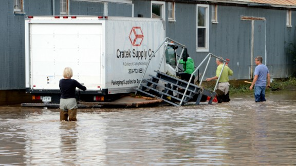Floodwaters swamp Longmont, Colorado, on September 14.