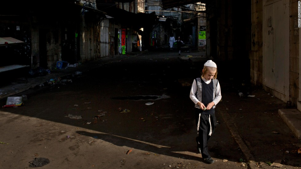 A child walks in Jerusalem's Mea Shearim neighborhood.
