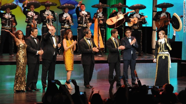 Singer Lucero, right, is joined onstage by fellow honorees at the 26th Annual Hispanic Heritage Awards on September 5.