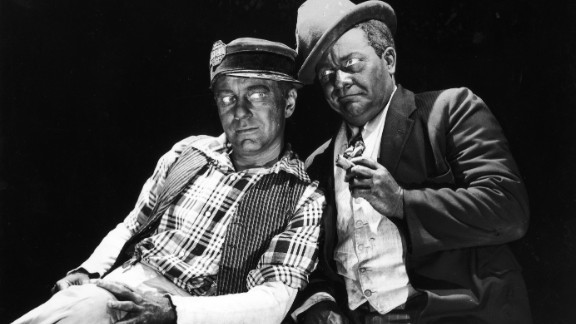 "Charles Correll (left) and Freeman Gosden appear in blackface makeup in a promotional portrait for the television series ""The Amos"