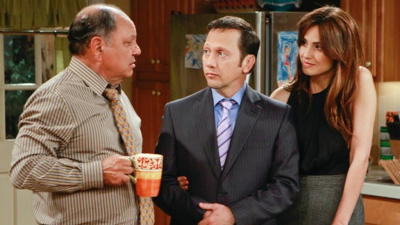 "From left, Cheech Marin, Rob Schneider and Claudia Bassols appear on ""Rob,"" which was called ""the worst show on television"" when it debuted in 2012. Critics lamented that the humor about Schneider integrating with his wife"