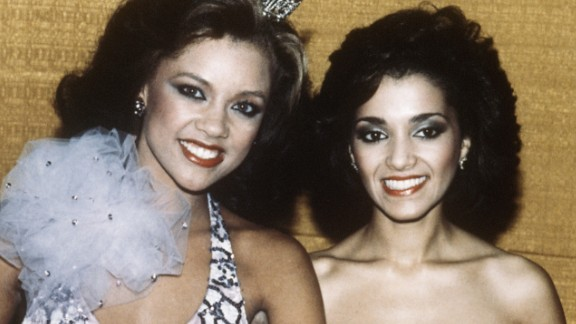 Vanessa Williams, left, is shown after being crowned Miss America 1984 in Atlantic City.  Williams resigned after nude photographs of her were revealed to the public, and Suzette Charles, right, who had been the first runner-up, took the title of Miss America 1984.