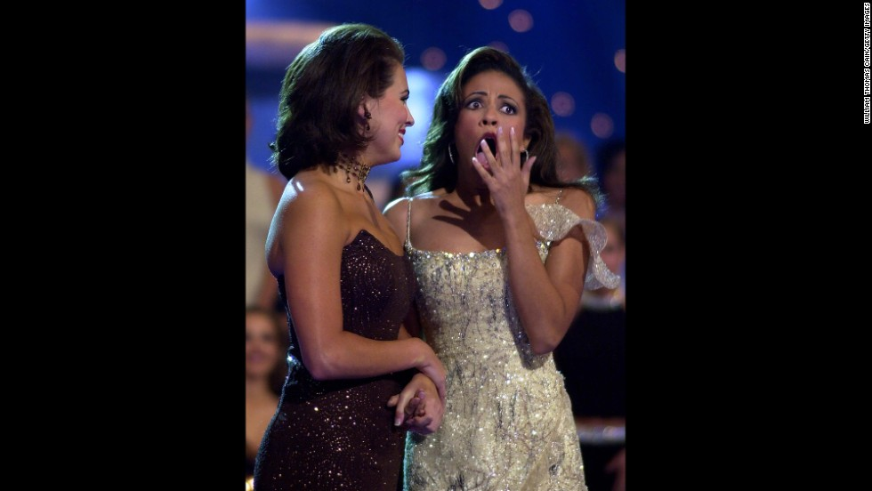 "Miss America 2003, Erika Harold, right, is congratulated by Miss Alabama, Scarlotte Deupree, in Atlantic City. Erika's platform for her reign was Empowering Youth Against Violence: ""Respect Yourself: Protect Yourself."""