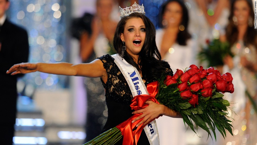 Laura Kaeppeler, Miss Wisconsin, reacts after being crowned Miss America during the 2012 Miss America Pageant at the Planet Hollywood Resort & Casino January 14, 2012, in Las Vegas.