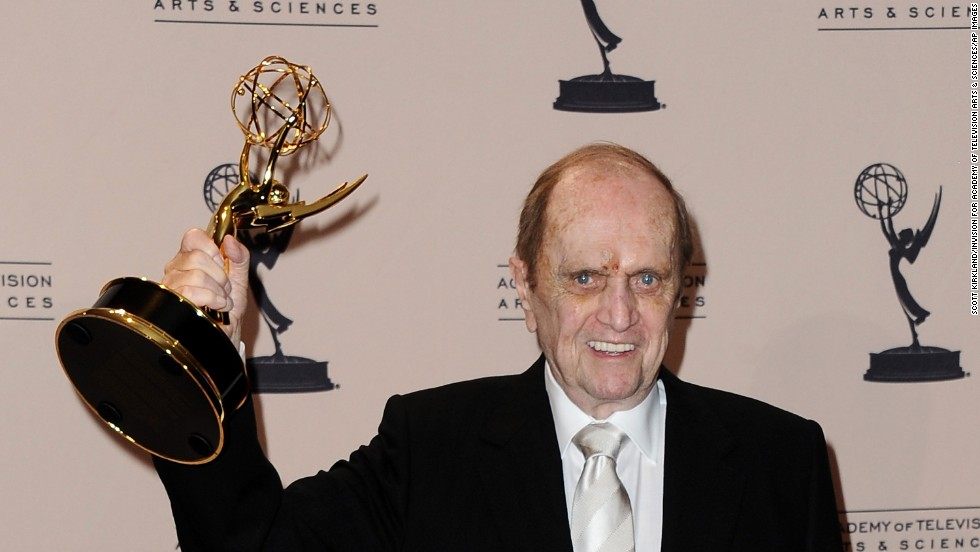 Newhart poses with his first Emmy in the press room at the 2013 Primetime Creative Arts Emmy Awards on Sunday, September 15, at the Nokia Theatre L.A. Live in Los Angeles, California.