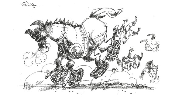 This image, depicting a Trojan horse on tanks, was one of the drawings Ferzat made after his hands healed.