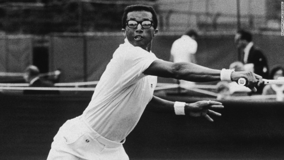Ashe excelled on faster courts due to his serve and volley style -- as seen here at Wimbledon in 1968.