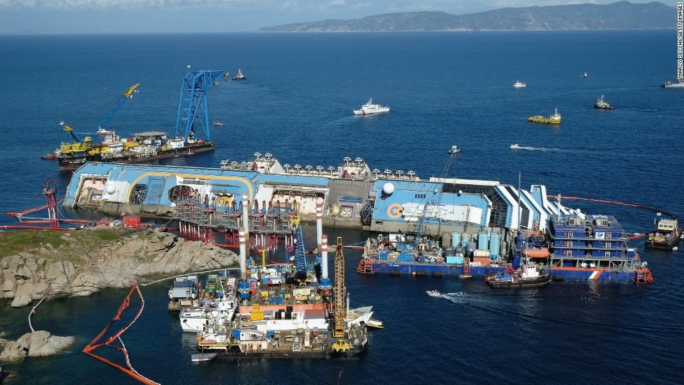 The project to upright the Costa Concordia continues on September 16. The nearly $800 million effort reportedly is the largest maritime salvage operation ever.
