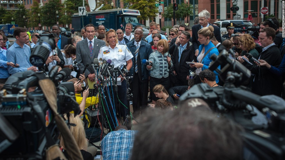 Washington Mayor Vincent Gray and Washington Police Chief Cathy Lanier speak to the media near the Washington Navy Yard.