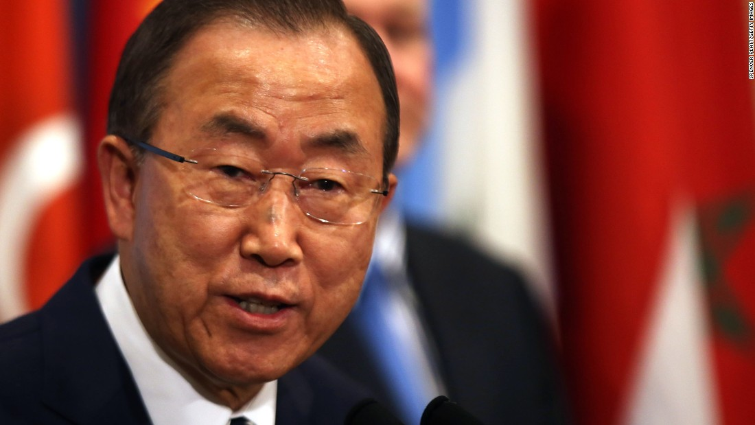 United Nations Secretary-General Ban Ki-moon prepares to speak to the media about the conclusion of the UN inspectors' report on chemical weapons use in Syria after a Security Council meeting at the United Nations headquarters on September 16, 2013, in New York City.