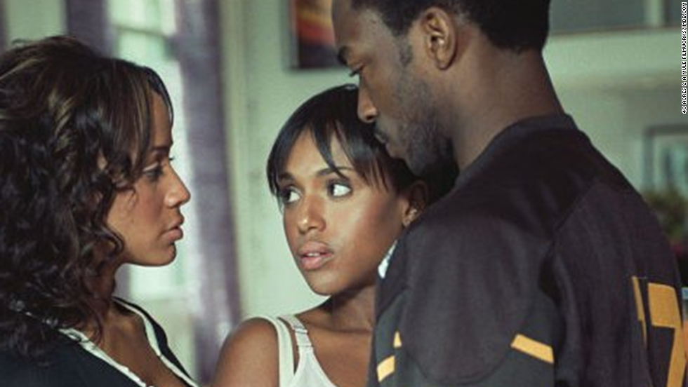 "Washington and Dania Ramirez, left, play a lesbian couple who wanted to pay Anthony Mackie to help them have a baby in Spike Lee's 2004 film, ""She Hate Me."""