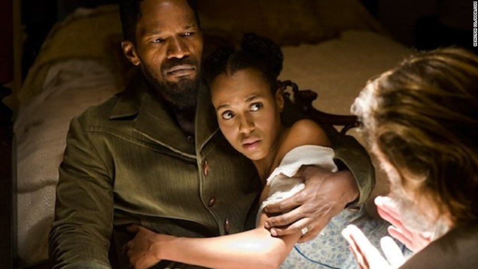 "Washington reunites with Jamie Foxx as married slaves in 2012's ""Django Unchained."""