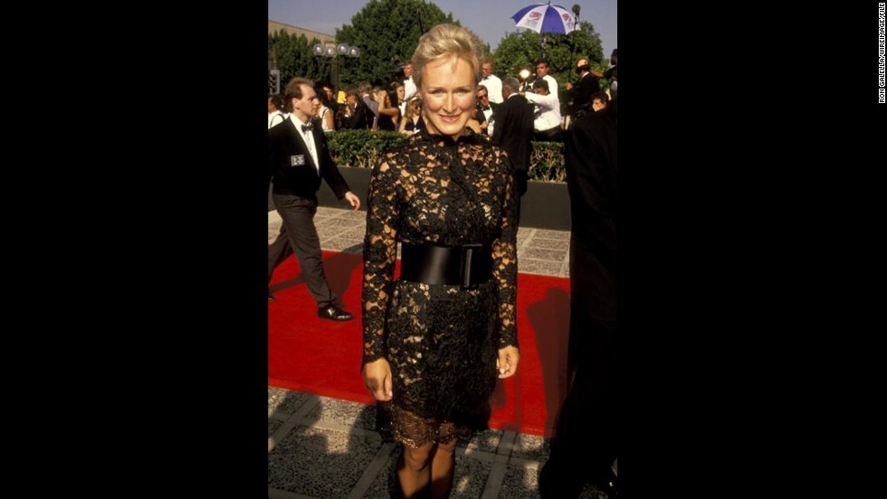 "Glenn Close went for a classic little black dress with a twist for the 1991 Emmy Awards. She was nominated for the TV special ""Sarah, Plain and Tall."""