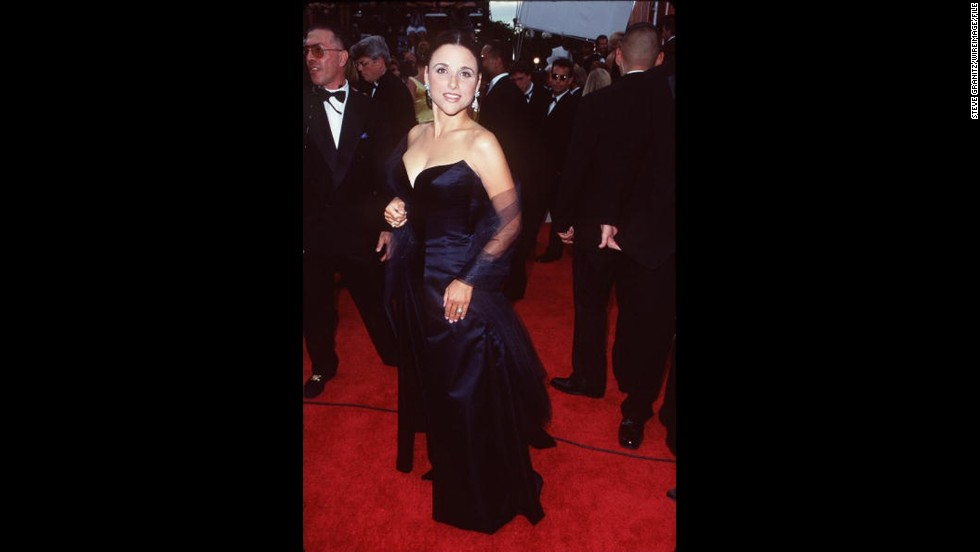 """Seinfeld"" actress Julia Louis-Dreyfus wore an elegant gown to the 1997 Emmy Awards, a year following her win for outstanding supporting actress in a comedy."