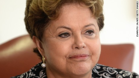 Brazilian President Dilma Rousseff attends a meeting with Rupert Stadler, World President of Audi AG, at Planalto Palace in Brasilia on September 17, 2013.