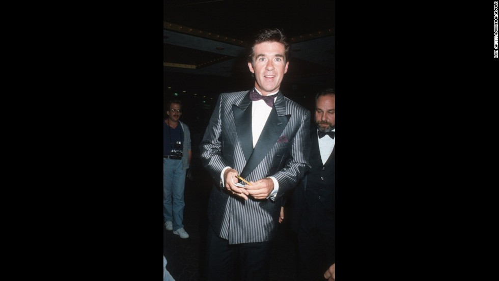 """Growing Pains"" patriarch Alan Thicke donned pinstripes to the 1986 event. <a href=""http://www.cnn.com/2013/08/26/showbiz/music/miley-cyrus-mtv-vmas-gaga/index.html"">Like father like son?</a>"
