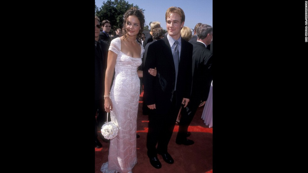 """Dawson's Creek"" co-stars Katie Holmes and James Van Der Beek walked the red carpet of the 1998 Emmys together."