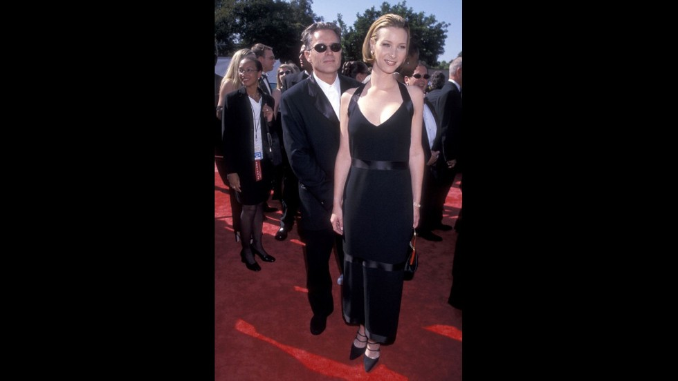 """Friends"" actress Lisa Kudrow left her character's quirky wardrobe at the set for 1998's Emmy Awards."