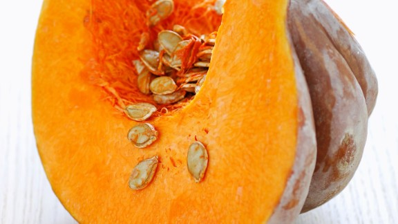 Pumpkin: A type of winter squash, pumpkin can be used for much more than jack-o'-lanterns. Its sweet taste and moist texture make it ideal for pies, cakes and even pudding!  Health benefits include • Rich in potassium  • More than 20% of your DRI of fiber  • Good source of B vitamins  Harvest season: October to February