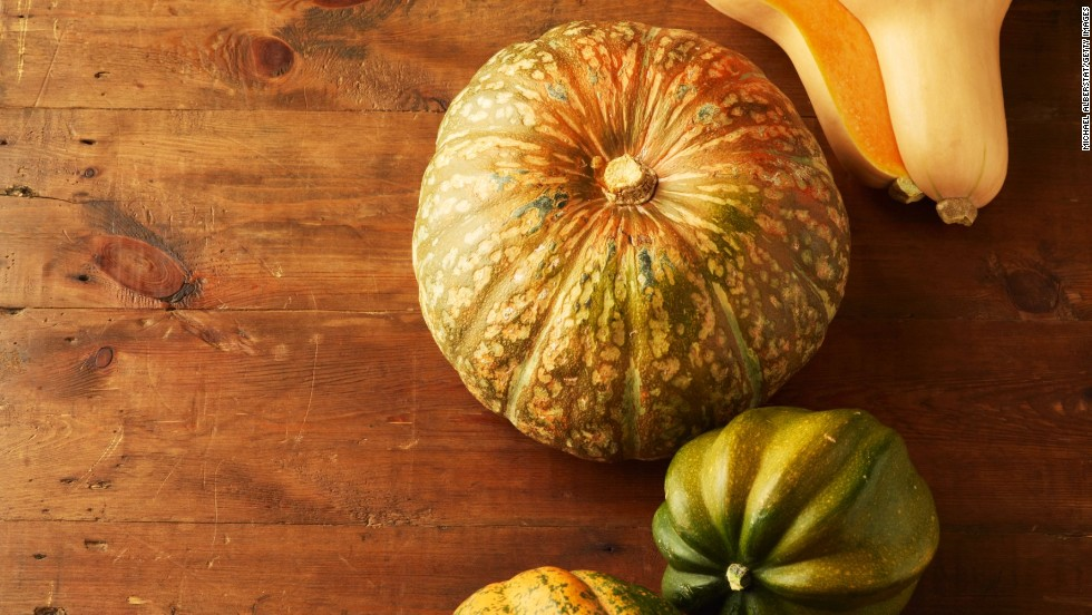 "<strong>Squash:</strong> Unlike summer squash, winter squash has a fine texture and a slightly sweet flavor. Because of its thick skin, it can be stored for months. It tastes best with other fall flavorings, like cinnamon and ginger. <br /><br />Health benefits include<br />• Contains omega-3 fatty acids <br />• Excellent source of vitamin A <br /><br />Harvest season: October to February<br /><br /><a href=""http://www.health.com/health/gallery/0,,20454528,00.html"" target=""_blank"">Health.com: 25 ways to cut 500 calories a day</a>"