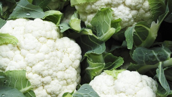 Cauliflower: The sweet, slightly nutty flavor of cauliflower is perfect for winter side dishes. It's wonderful steamed, but it can also be blended to create a mashed potato-like texture or pureed into soup.   Health benefits include • Compounds that may help to prevent cancer  • Phytonutrients may lower cholesterol • Excellent source of vitamin C    Harvest season: September to June