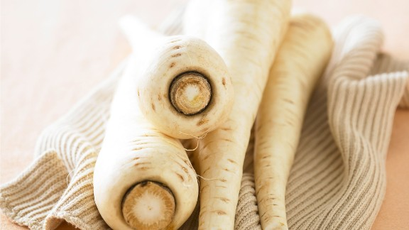 Parsnips: Though these veggies may resemble carrots, they have a lighter color and sweeter, almost nutty flavor. Use them to flavor rice and potatoes or puree them into soups and sauces.   Health benefits include • Rich in potassium  • Good source of fiber  Harvest season: October to April