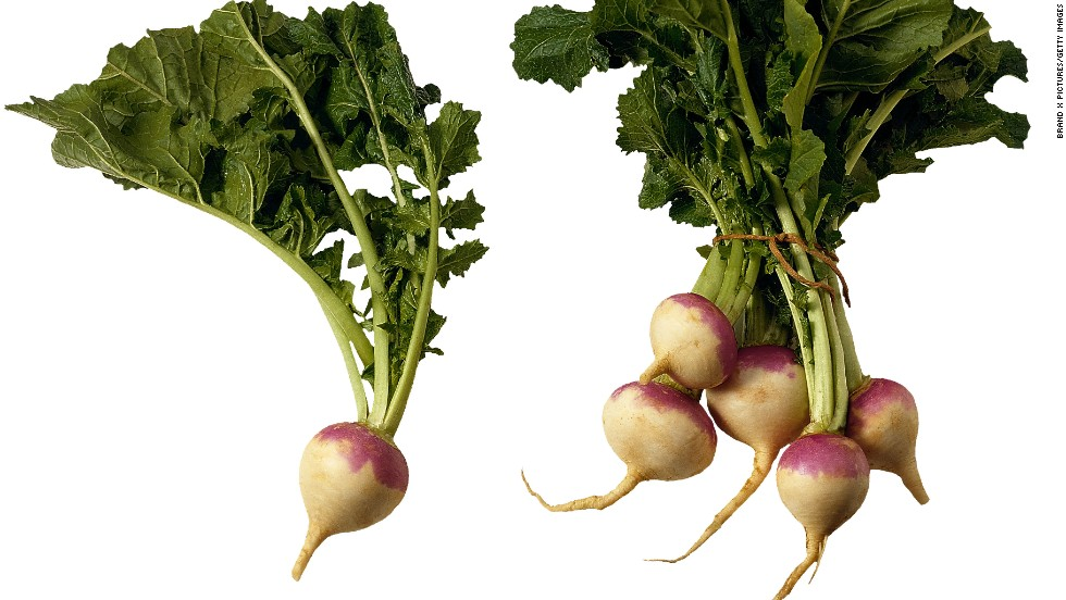 <strong>Turnips:</strong> Tender and mild, these root vegetables are a great alternative to radishes and cabbage. To flavor these veggies, use fennel, bread crumbs or even brown sugar. Turnip leaves, which taste like mustard leaves, are easy to cook and dense in nutrients. <br /><br />Health benefits include<br />• The roots are a good source of vitamin C <br />• Turnip leaves are an excellent source of vitamins A, K and folate <br /><br />Harvest season: September to April