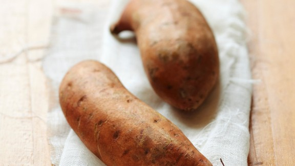 Sweet potatoes: These veggies are for much more than Thanksgiving casseroles. They're more nutritionally dense than their white-potato counterparts. Try roasting them; they'll taste delicious, and you may maintain more vitamins than boiling.   Health benefits include • Excellent source of vitamin A  • Good source of iron  • Anti-inflammatory benefits    Harvest season: September to December  Health.com: Eat this and burn more fat