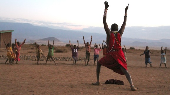 """""""Yoga will be part of Maasai tradition because the young need to be strong warriors,"""" says Jacob Parit, Maasai warrior and yoga instructor."""